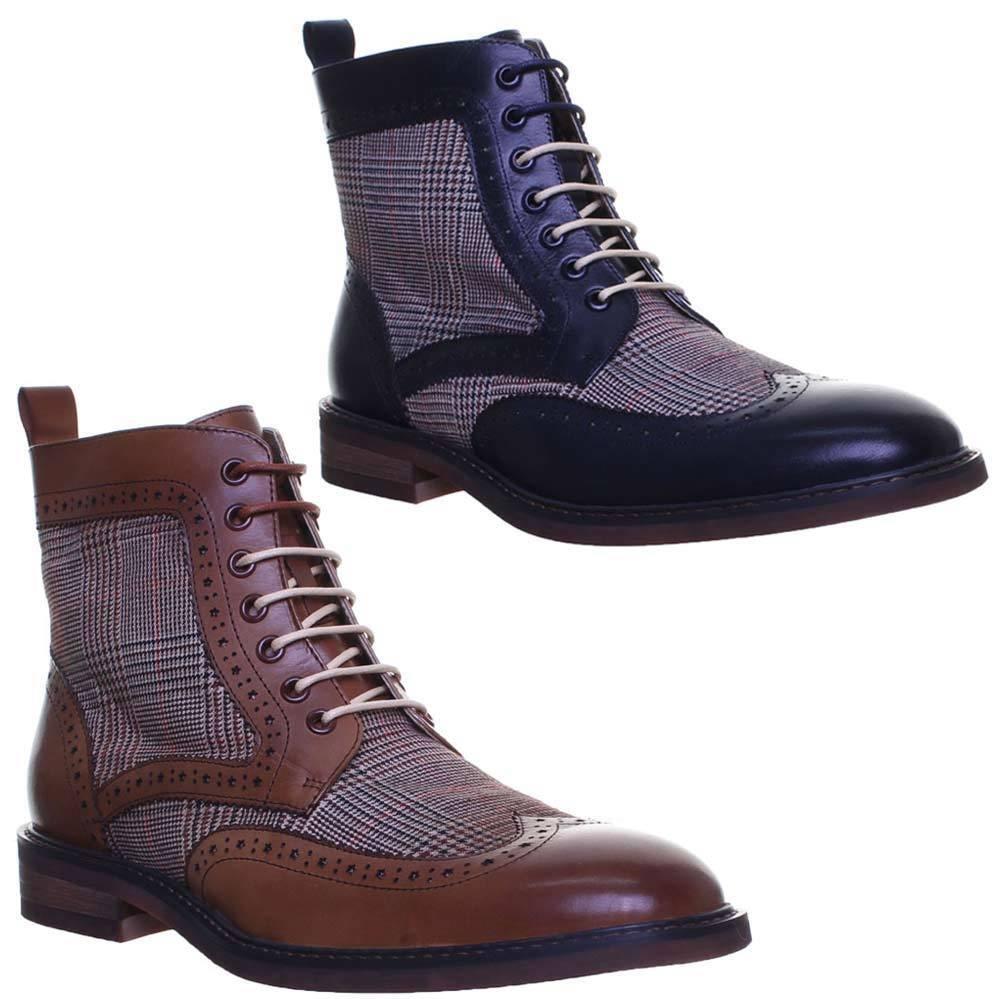 Justin Reece Jasper Herren Schnursenkel Brogue Tweed Boot Hand Made EU 35 - 47