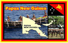 PAPUA NEW GUINEA MAP/ FLAG / SIGHTS - SOUVENIR NOVELTY FRIDGE MAGNET - NEW/GIFT