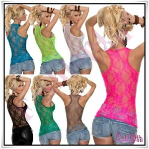 Sexy-Women-039-s-Lace-Vest-Top-Ladies-Summer-Casual-Tank-Top-One-Size-6-8-10-12-UK