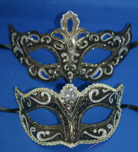HIS N HERS PAIR OF BLACK SILVER BRONZE /& GOLD VENETIAN MASQUERADE PARTY EYE MASK