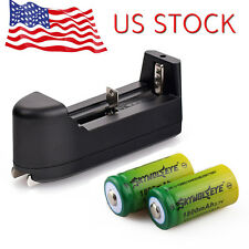 Flashlight 2PCS 1800mAH Li-ion Rechargeable CR 123A Battery 16340 + Charger