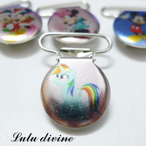1 Pince bretelle My little Pony Rainbow Dash Attache tétine /& doudou métal