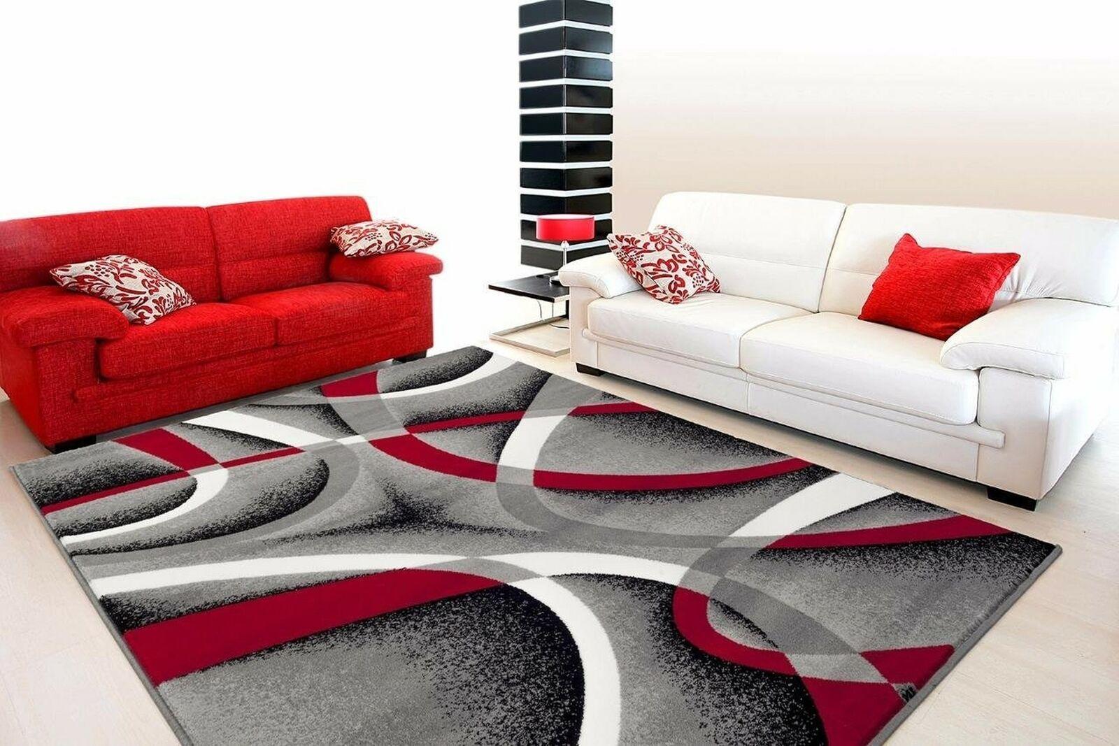 2305 Gray Black Red White Swirls 5 2 X7