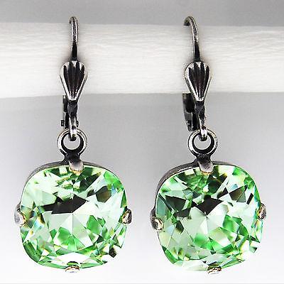Ohrringe Ohrhänger Silber Altsilber Swarovski Kristall Rund - Chrysolite - grün