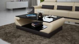 Das Bild Wird Geladen Design Glastisch Leder Couch Tisch Tische Glas Sofa