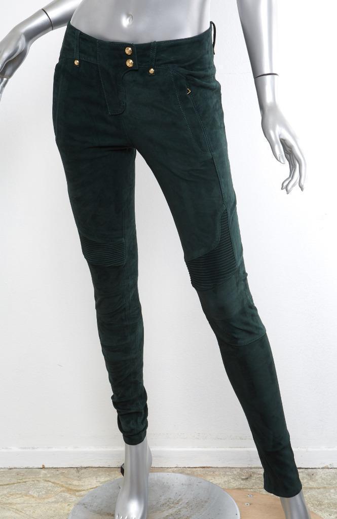 BALMAIN x H&M Womens Dark-Green Suede Biker Skinny gold-Button Pants 4-36 NEW