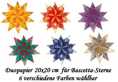 Faltblätter Bascetta Duopapier Faltsterne 20x20 cm 6 versch Farben 1m²=3,87€
