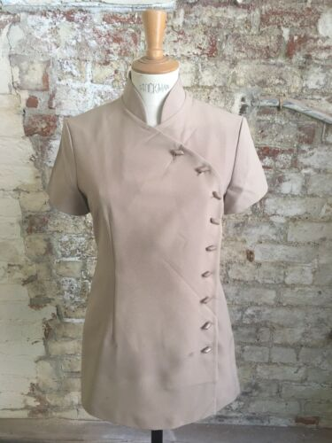 *SALE* Sand Beige Asymmetric Polyester Beautician Tunic Fully Lined Size 20