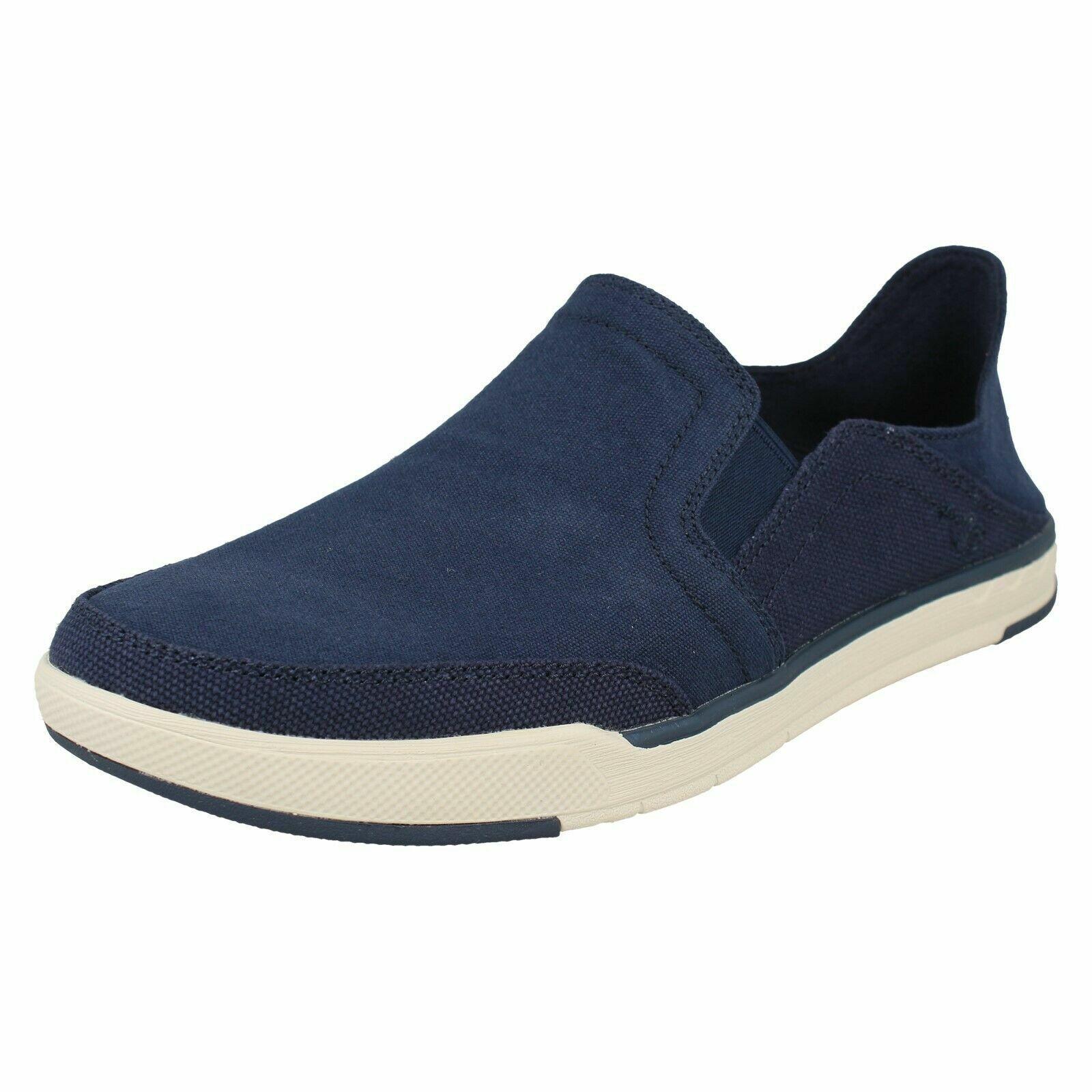 Herren Clarks Schritt Isle Reihen Marineblau Slipper Leinen Schuhe