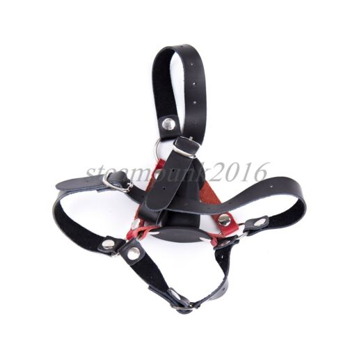 Head Harness Novelty Rubber Insert Mouth Gag Restraint Strap Plug Leather Mask