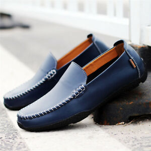 Mens-Leather-Driving-Casual-Boat-Soft-Slip-On-Loafers-Moccasin-Comfy-Flats-Shoes