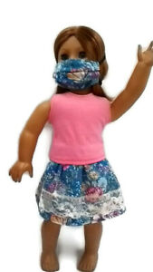 3-pc-Outfit-fits-American-Girl-dolls-18-034-Doll-Clothes-Tank-Top-Skirt-Face-Mask