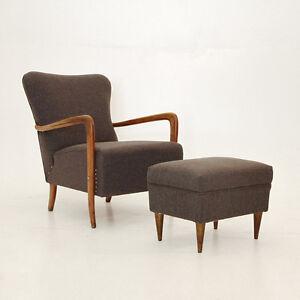 Poltrona anni \'40 con pouf, Art Decò, vintage armchair, Paolo Buffa ...