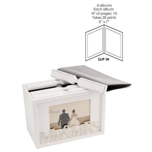 Mr /& Mme 80 photos Box Album 7X5 Display Case Frame-Amore Mariage Souvenir