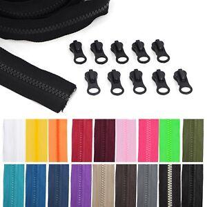 Endlos-Reissverschluss-grob-5mm-Kunststoff-1-70-m-4m-10-Zipper-Schieber
