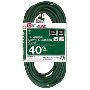 New 40 Ft Extension Cord Outlet 16 Gauge Christmas Yard Decoration