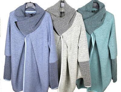 New Plus Size Ladies Wool Mix Lagenlook Cocoon Coatigan Jacket Coat 18 20 22