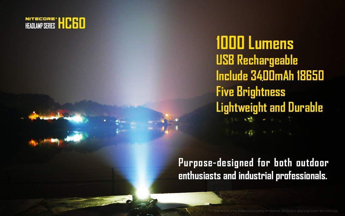 Nitecore HC60 1000 Lumen USB Rechargeable LED Headlamp, 3400 mAh Rechargeable Ba