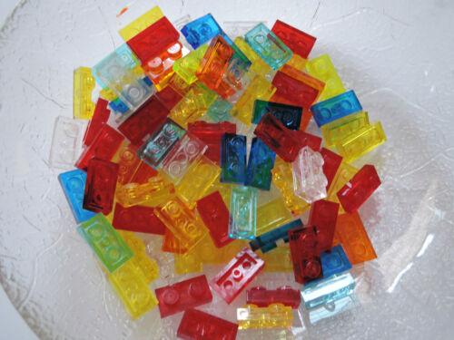 Lego 50 x Platte 1x2 3023 transparent rot gelb orange hellblau blau