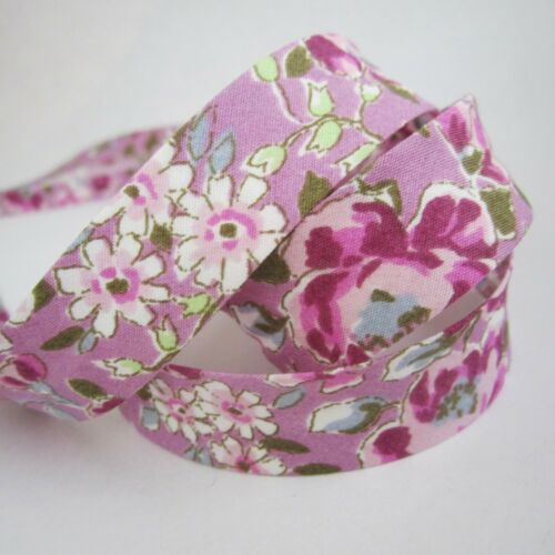 purple lilac pink shabby chic cottage flowers 18mm pretty floral bias binding