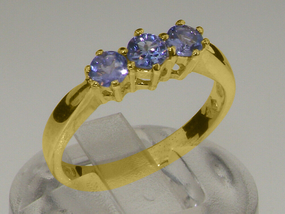 Solid 9ct Yellow gold Natural Tanzanite Womens Trilogy Ring - Sizes J to Z