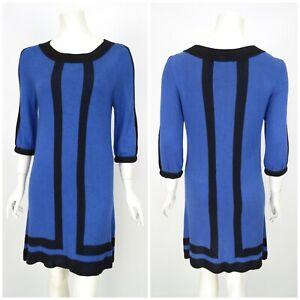 Womens-Alice-Olivia-Jumper-Dress-Blue-Viscose-Wool-Short-Sleeve-Size-M