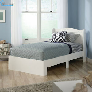 White Twin Size Bed Frame Headboard Modern Kids Bedroom Furniture