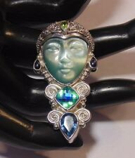Sajen 925 Sterling Silver Multi Stone Carved Goddess Face Pin Pendant Brooch
