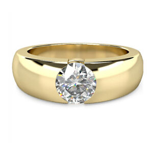 1.00 Ct Round Moissanite Anniversary Wedding Ring 18K Solid Yellow Gold Size 5