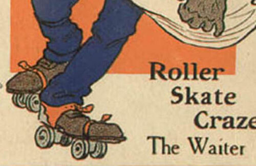 1907 BLACK WAITER ON ROLLER SKATES CRAZE SERIES POSTCARD NOW ON SALE PC5470