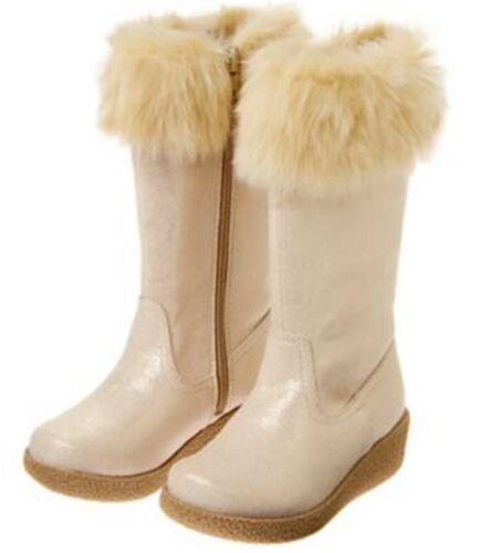 "NWT Gymboree POLAR PINK 10 11 /""Furry Cuff Sparkle Boots/"" Gold Faux Fur $49.95"