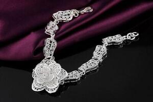 Asamo-senora-pulsera-con-Rose-925-Sterling-plata-chapados-joyas-a1244