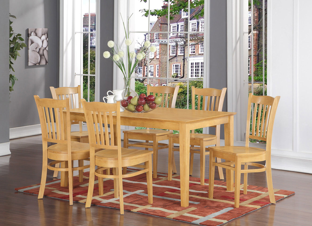 7pc Canfield Iii Country Style Oak Finish Wood Pedestal Dining Table Set For Sale Online Ebay