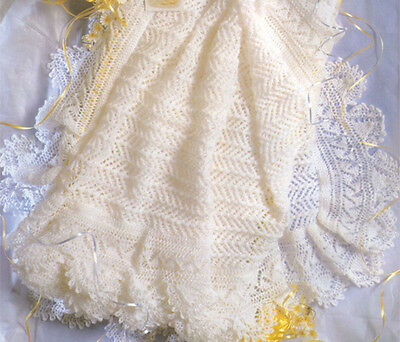 "Knitting Pattern -  Lacy Baby Shawl- Knitted in 2 ply- 50"" square. gorgeous"