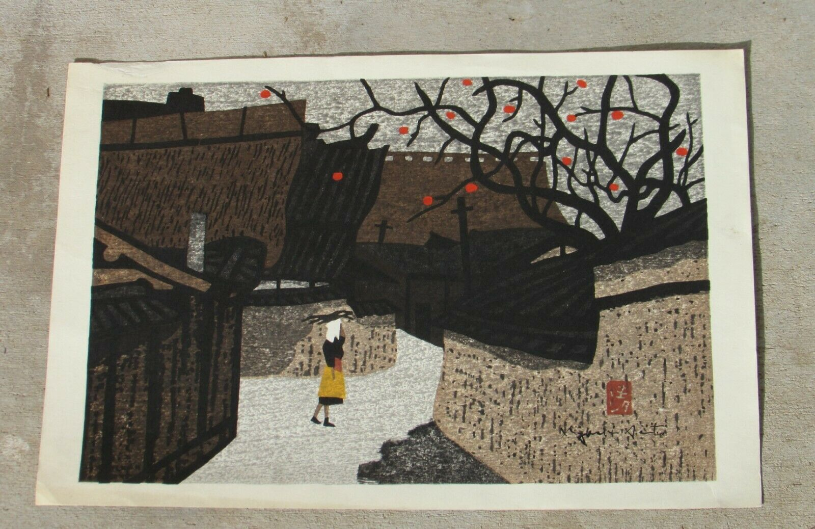 KIYOSHI SAITO Circa 1960's Woodblock Persimmon Lined Street Signed in the Plate on eBay thumbnail