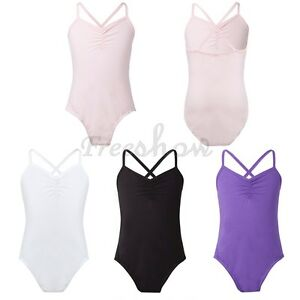 Kid-Girls-Spaghetti-Strap-Ballet-Dance-Leotard-Gymnastic-Skate-Bodysuit-SZ-2-12Y