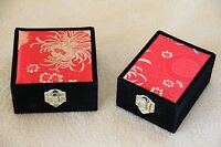 1 Set Velvet Jewellery Gifts Boxes Lock Including 1pendant & 1bracelet Black&red