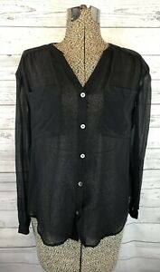 AG-ADRIANO-GOLDSCHMIED-100-Silk-Top-Button-Down-Blouse-Black-Size-Xs-Sheer