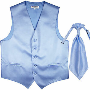 New men's tuxedo vest waistcoat & ascot horizontal stripes prom light blue