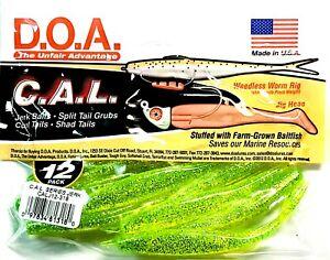 "DOA Jerk Bait 4"" CHARTREUSE Soft Fishing Lure Stuffed with Baitfish 12 Per Pack"