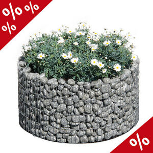 HOCHBEET-BASIC-RUND-81-67-cm-H-40-cm-Gabione-Blumentopf-Blumenkuebel-Bellissa