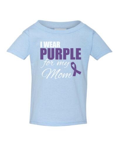 Youth Toddler I Wear Purple For My Mom Shirt Ribbon Epilepsy Awareness Kids Size