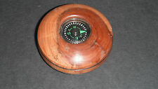 SMALL ROUND HAND TURNED WOODEN COMPASS