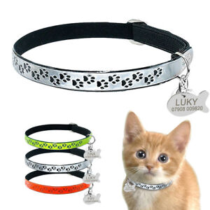 Fluorescent-Reflective-Elastic-Personalized-Cat-Collar-amp-ID-Name-Tags-free-Bell