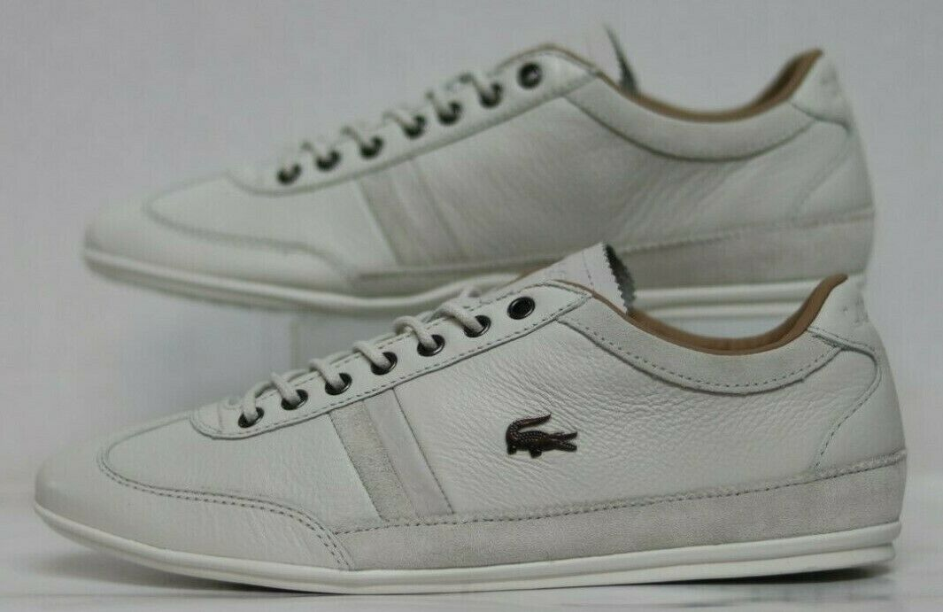Lacoste Misano 36 SRM OFF Wht Leather Suede 7-30SRM0015098 Men Size's