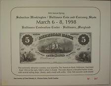 1998 March 26th Spring Washington Baltimore Coin & Currency Show Souvenir Card