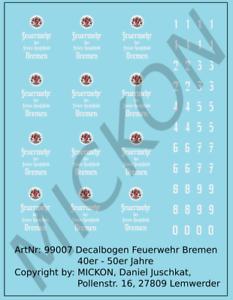 Mickon 99007 Decals Feuerwehr Bremen Logos Türwappen 40er - 50er Jahre 1:87 H0