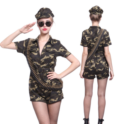 Women Ladies Army Soldier Girl Camouflage Costume Captain Commando Combat Outfit
