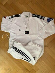 ADIDAS-Taekwondo-Dobok-Anzug-Gr-160-weisser-Kragen