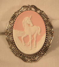 Lovely Etch Swirl Rimmed Silvertone Pink & White Prancing Unicorn Brooch Pin